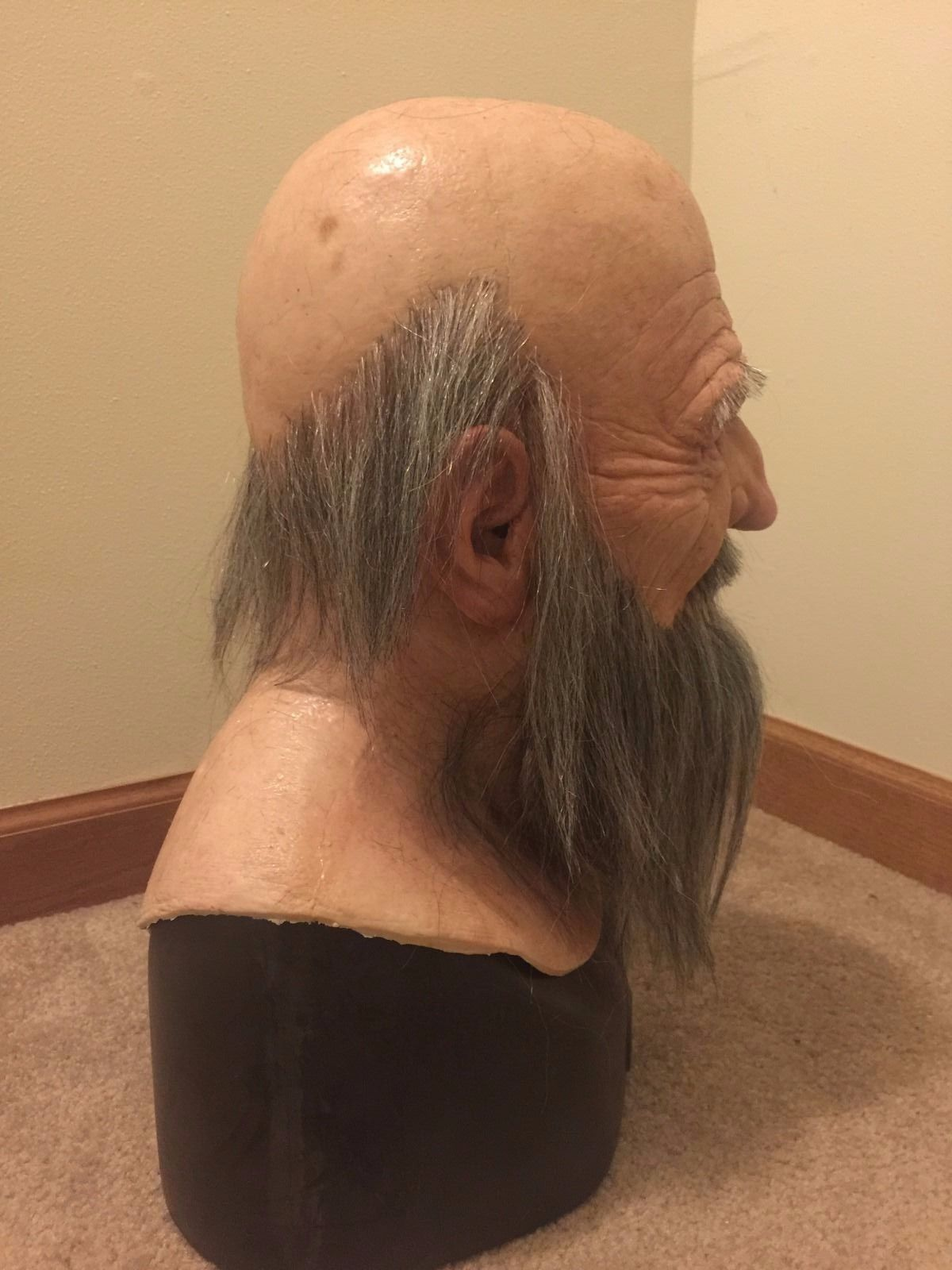 Details about Scary realistic halloween Silicone Mask old man ...
