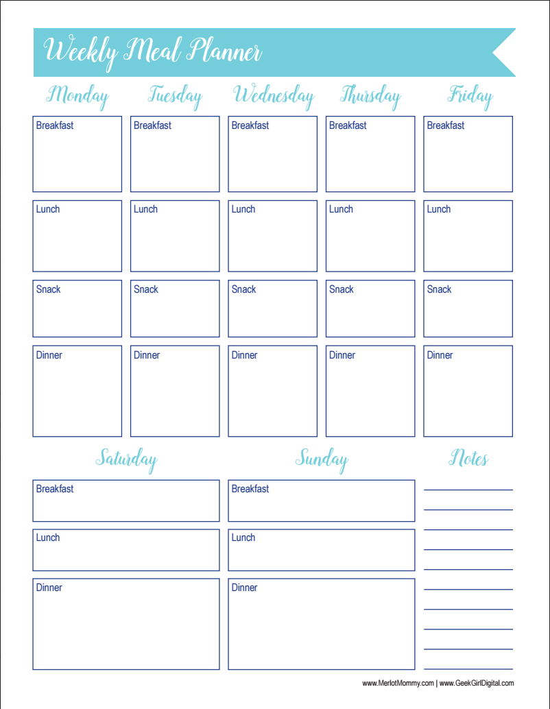 30 Days of Free Printables: Weekly Meal Planner Worksheet ...