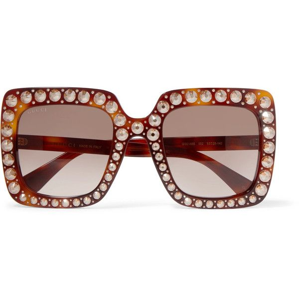 7912ed0e31d Gucci Embellished square-frame tortoiseshell acetate sunglasses ( 790) ❤  liked on Polyvore featuring accessories