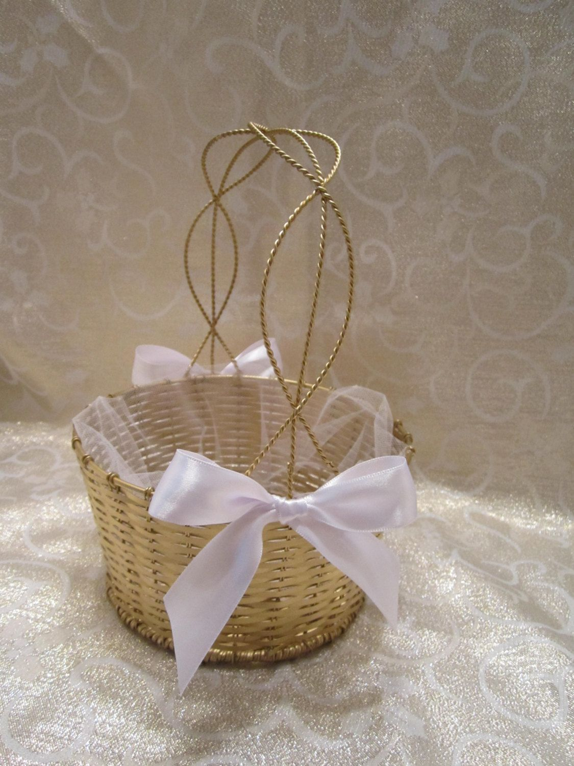 SOLD - Flower Girl Basket - Gold Metal Wire Basket - Dressed Up and Wedding Ready by VKVDesigns on Etsy