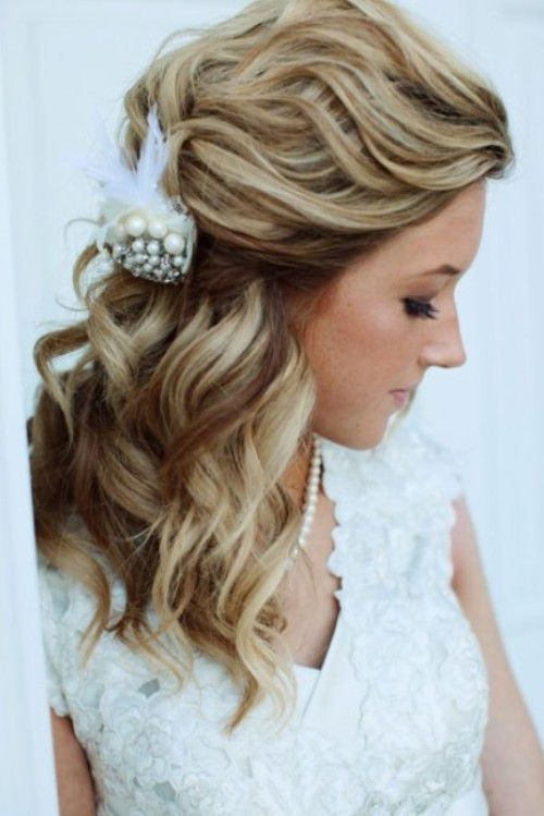 Tousled Half Chignon Wedding Long Hairstyles 2015