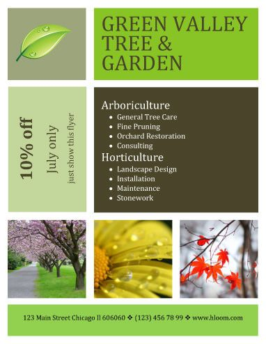 Contemporary Design Landscaping Flyer Template with Coupon Content