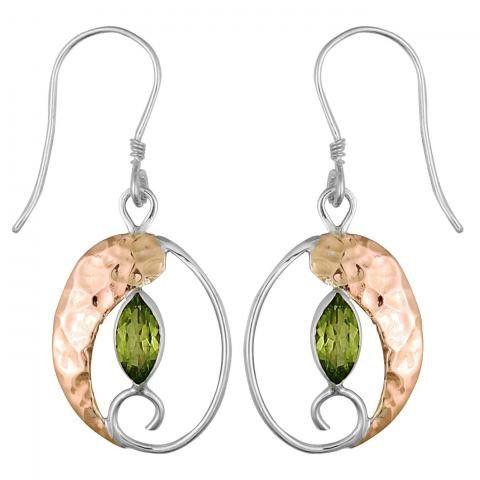 Peridot Copper Equilibrium Earring