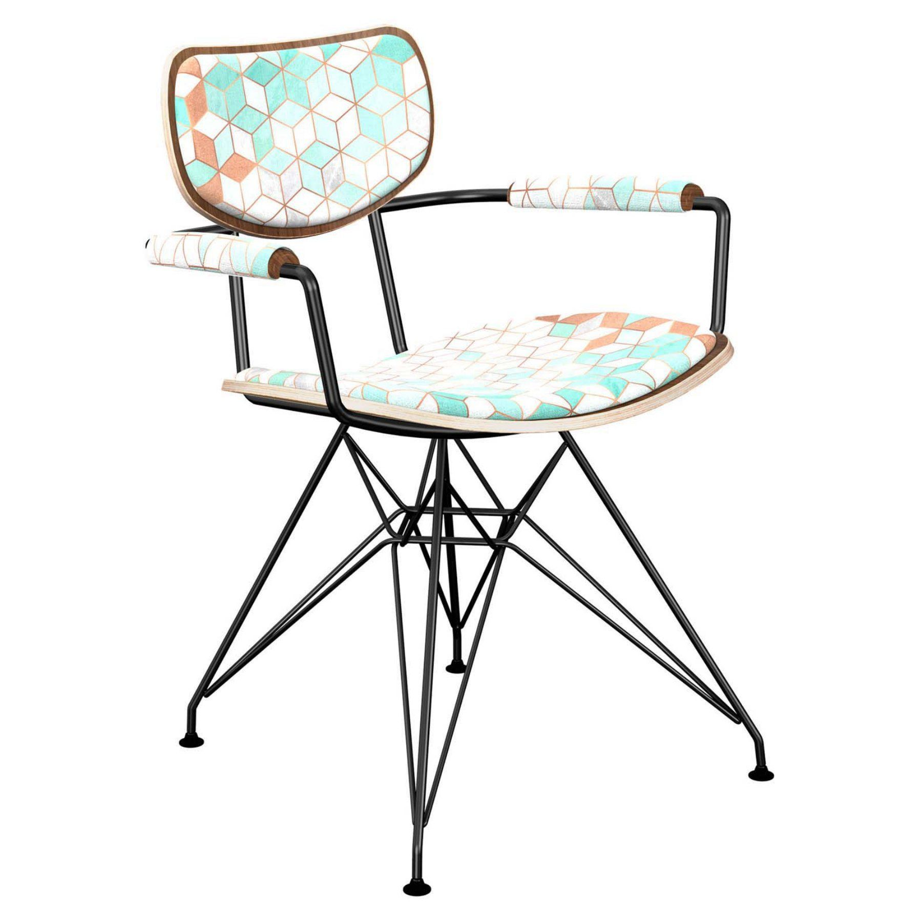 Nyekoncept Harvey Mint And Copper Deco Eiffel Dining Arm Chair