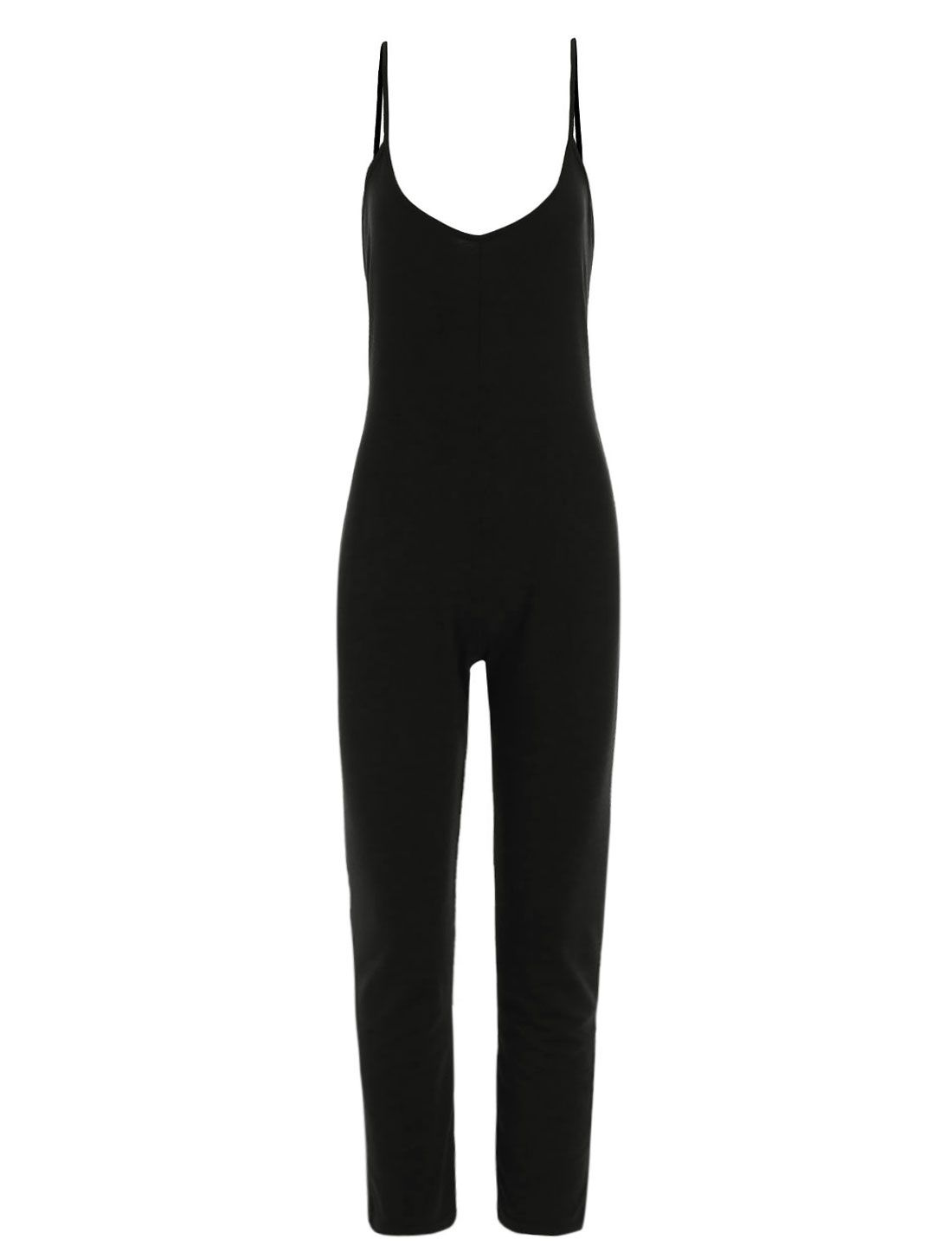 Allegra K Women's Spaghetti Strap Scoop Neck Backless Casual Jumpsuits Black (Size L / 12)