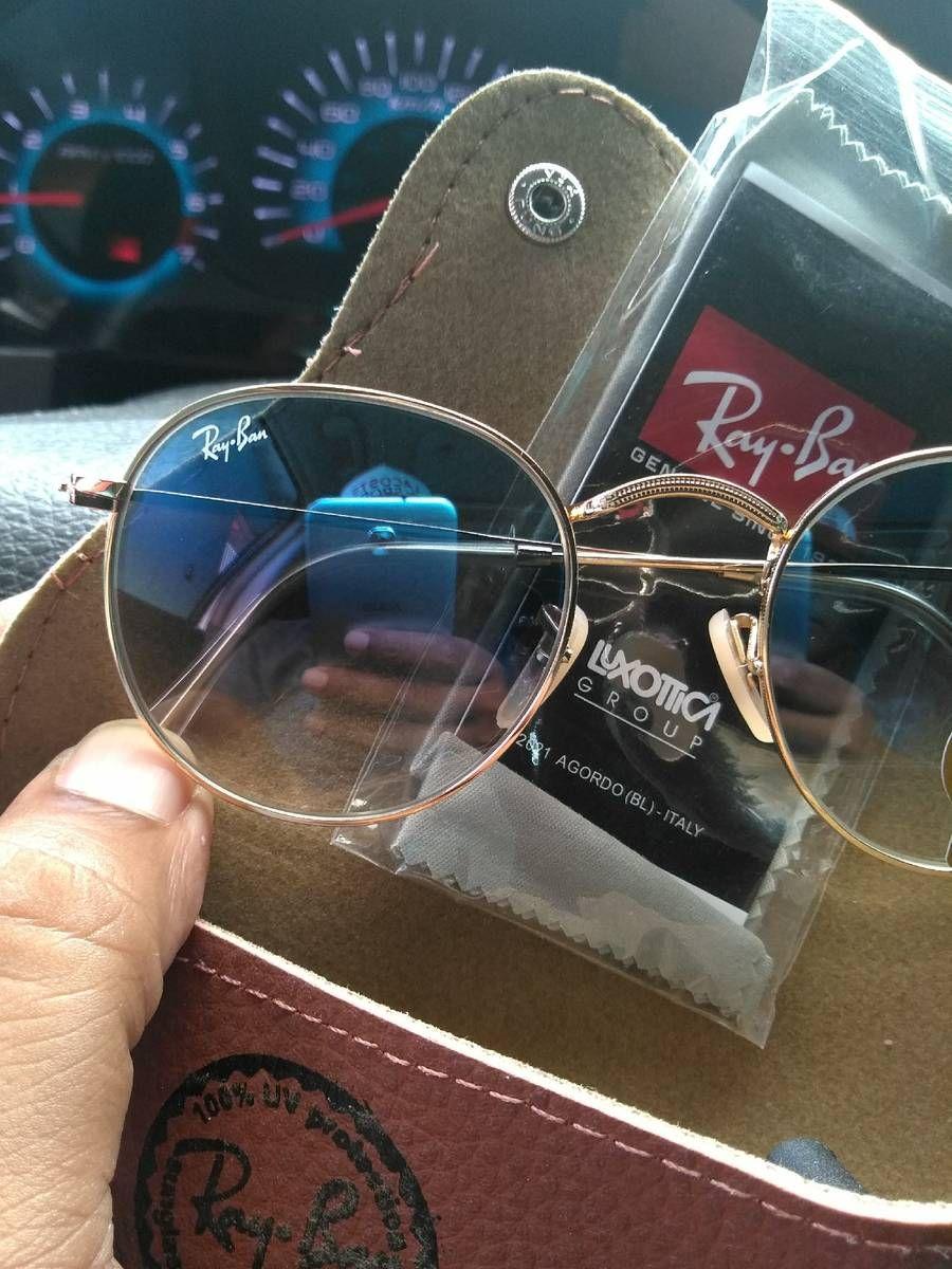 4bf9e41b9 Óculos de sol ray ban round azul semi espelhado em 2019 | só óculos ...