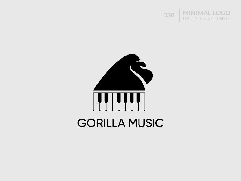 Gorilla Music Gorilla Minimalist Logo Design Music
