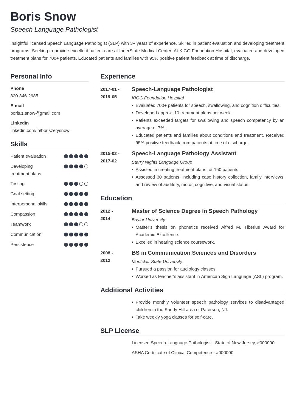 Speech Pathologist Resume Example Template Simple In 2020 Resume Examples Job Resume Examples Resume