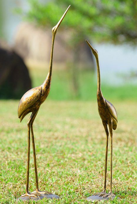 Crane Pair Garden Sculptures  A Tall Slender Pair Of Crane Sculptures That  Stand Separately On Design Inspirations