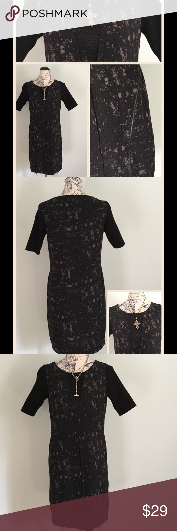🎈SALE 🎈Ellie Tahari Design Nation Sheath Dress Ellie Tahari for Design Nation Mixed Media Sheath Dress-With Short Sleeves and Zipper detail in front panel. Machine Wash- Flat Dry- New without tags Ellie Tahari for Design Nation Dresses