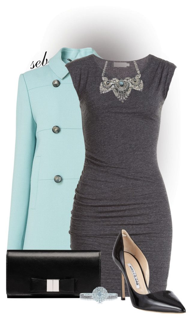"""""""Little Gray Dress"""" by coombsie24 ❤ liked on Polyvore featuring L.K.Bennett, Velvet, Balenciaga, Manolo Blahnik, Tiffany & Co., manoloblahnik, Tiffany, LKBennett and tiffanyandco"""