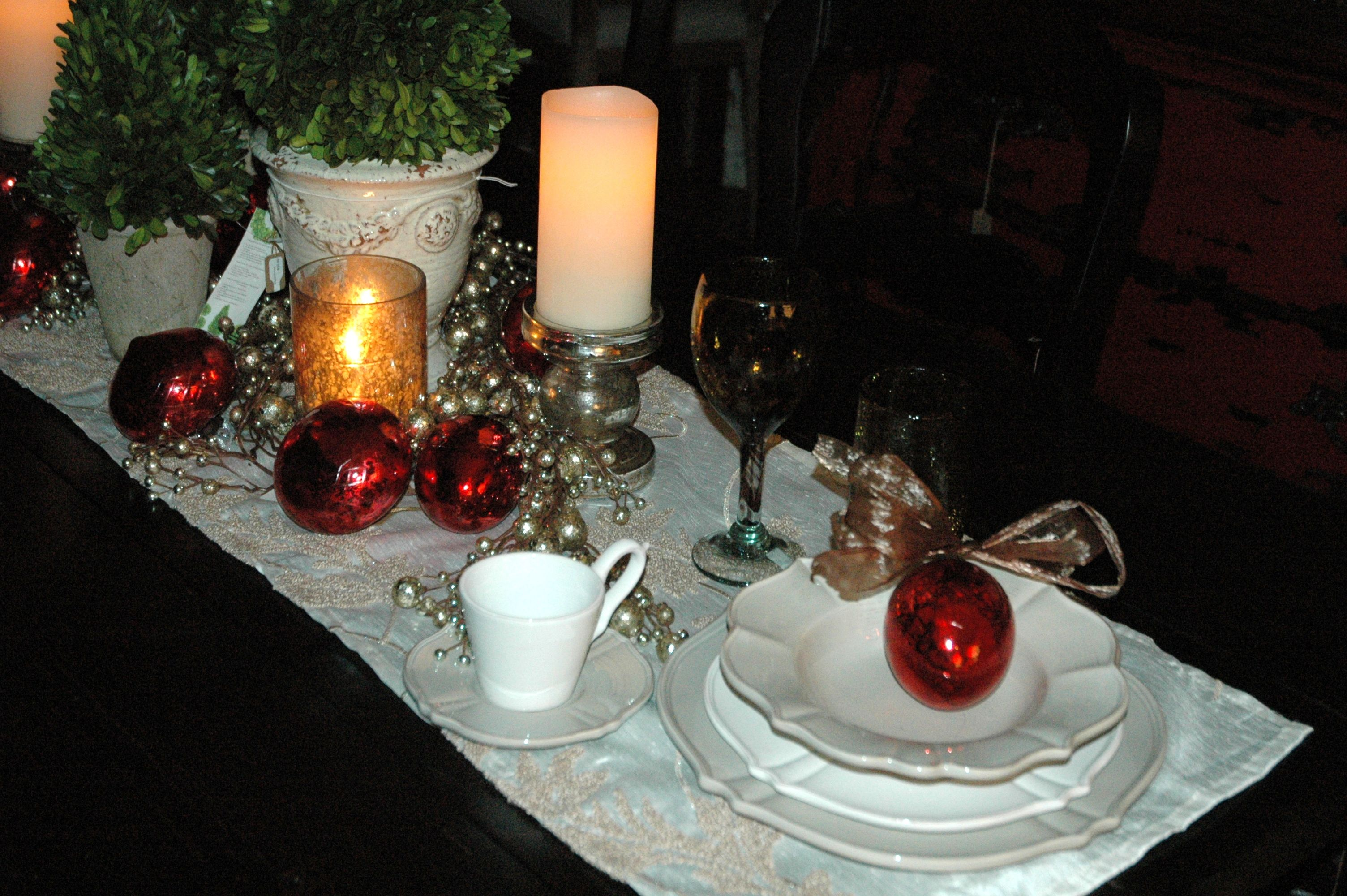 Mercury glass candle holders and ornaments in silver and red