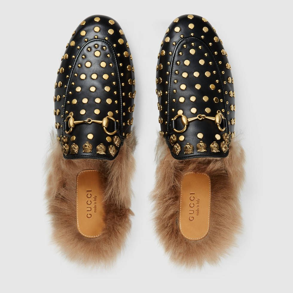 7aacb6c0d Gucci Princetown black leather and gold studded fur lined slippers ...