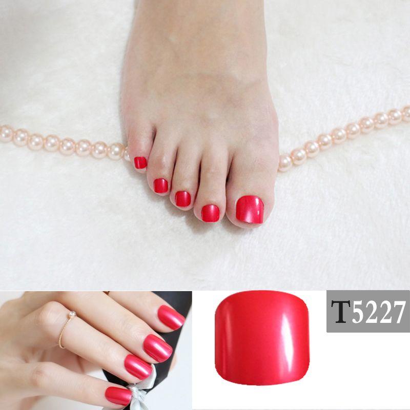 Candy DIY Fashion Colors Toe Nails 24pcs Acrylic False Toes Solid ...