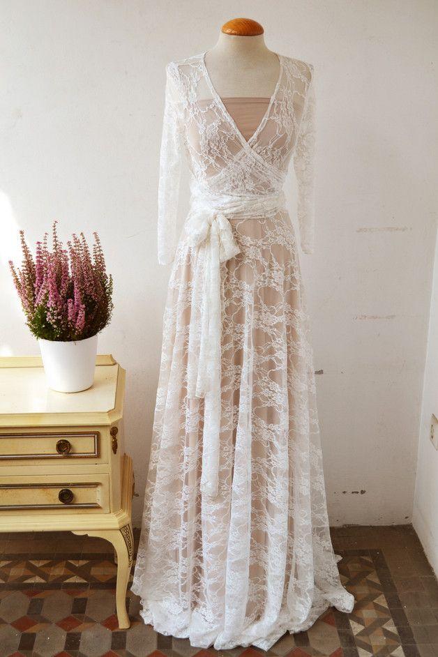 Champagner weiss Spitze Hochzeitskleid lange ärmel | lange Ärmel ...