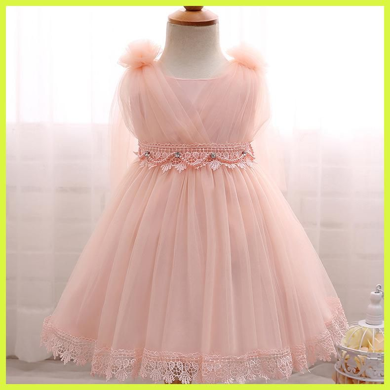 baby girl flower dresses pearl beading cute wedding dress baby ...