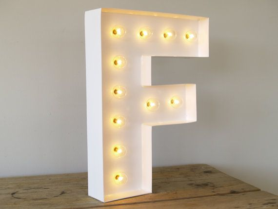 San Serif F With Holywood Lights Carnival Letters Light Up Letter Lamp And Marquee Sign On Etsy 119 00