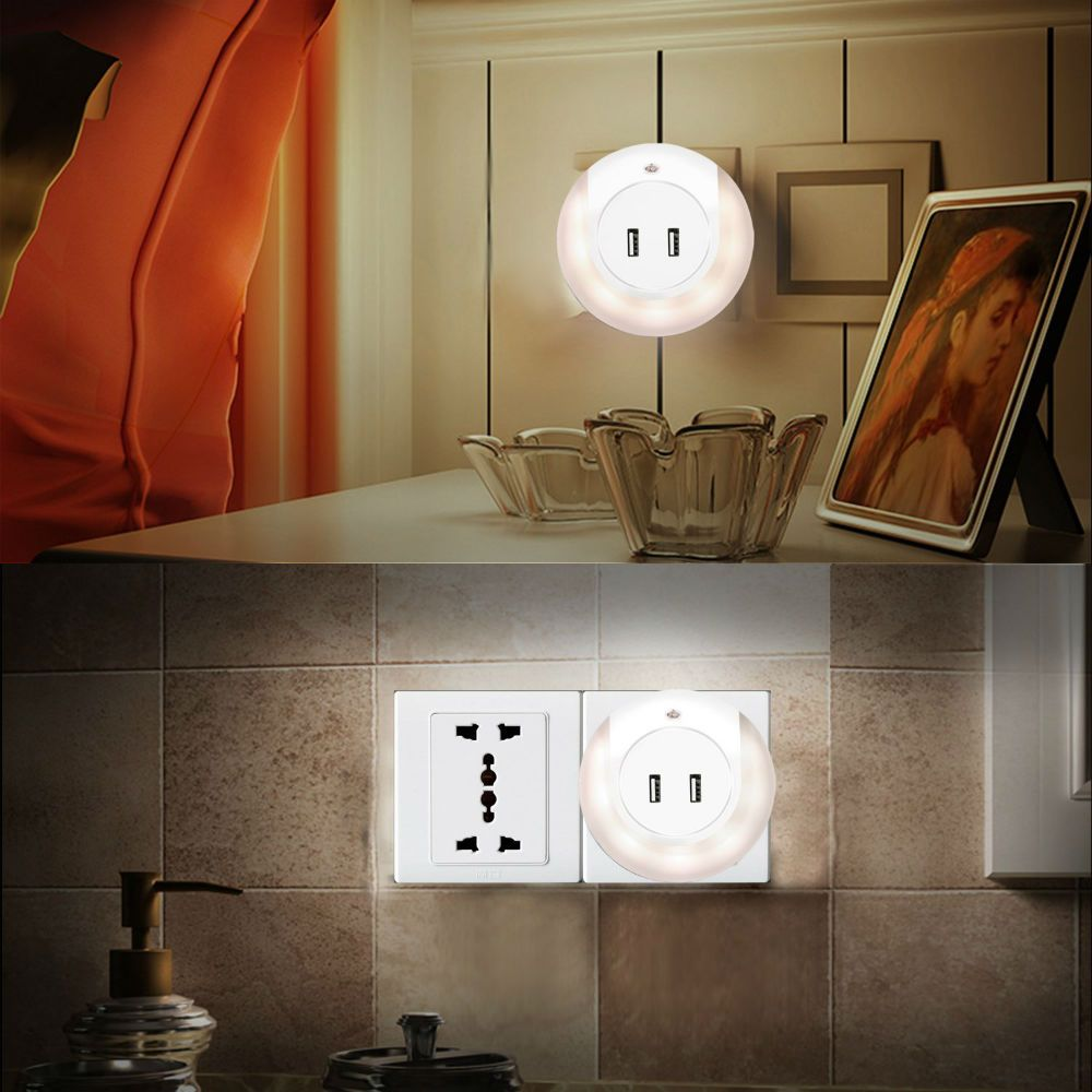Plugin LED Night Light with Dual USB Port Led night