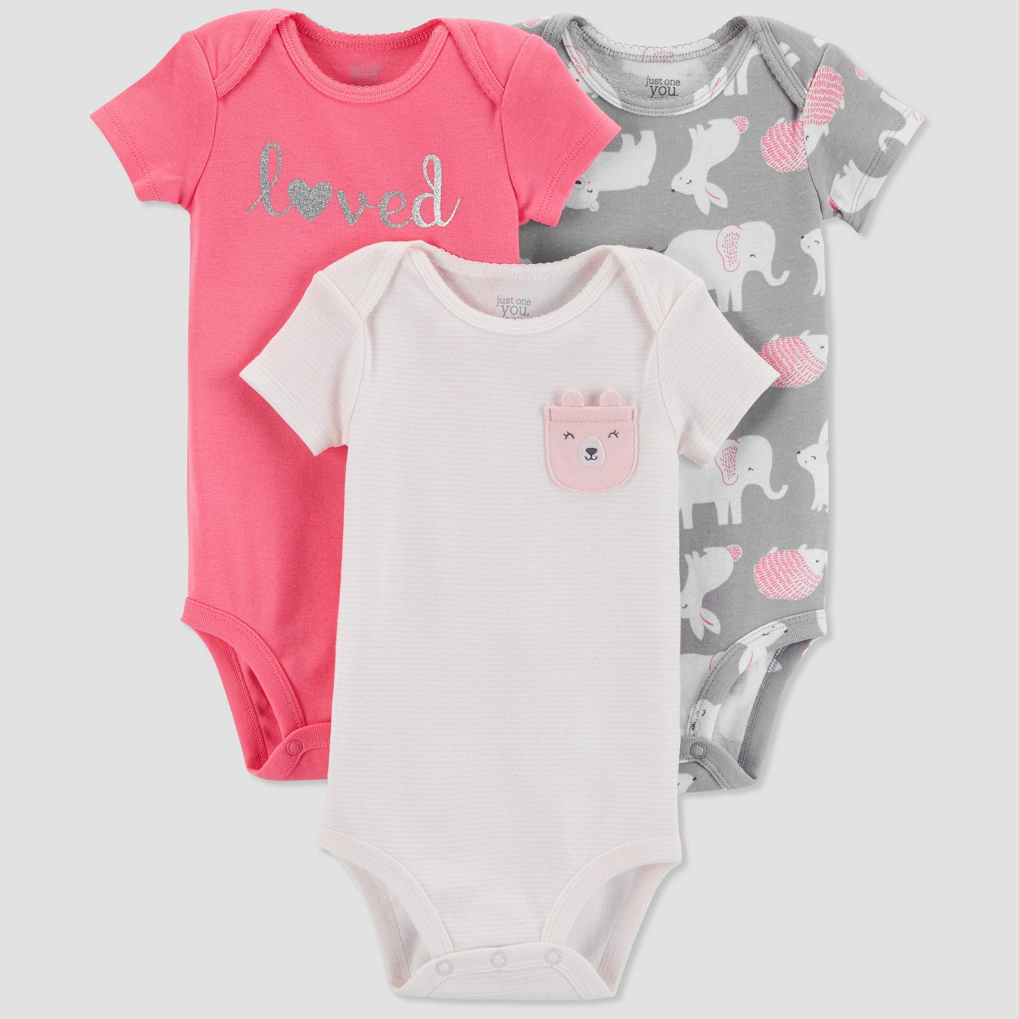 345aca76821 Baby Girls  3pk Love Bodysuit - Just One You made by carter s Pink Gray 12M