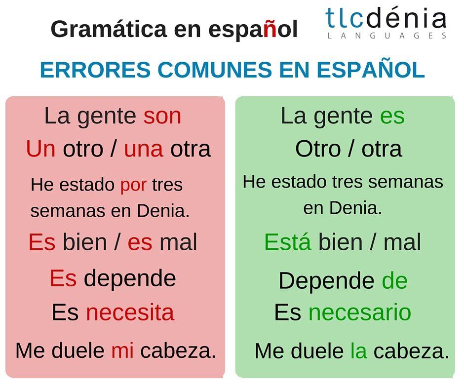 Gramática En Español Errores Comunes Spanish Grammar Common Mistakes Ele Español Spanish Learning Spanish Spanish Language Teaching