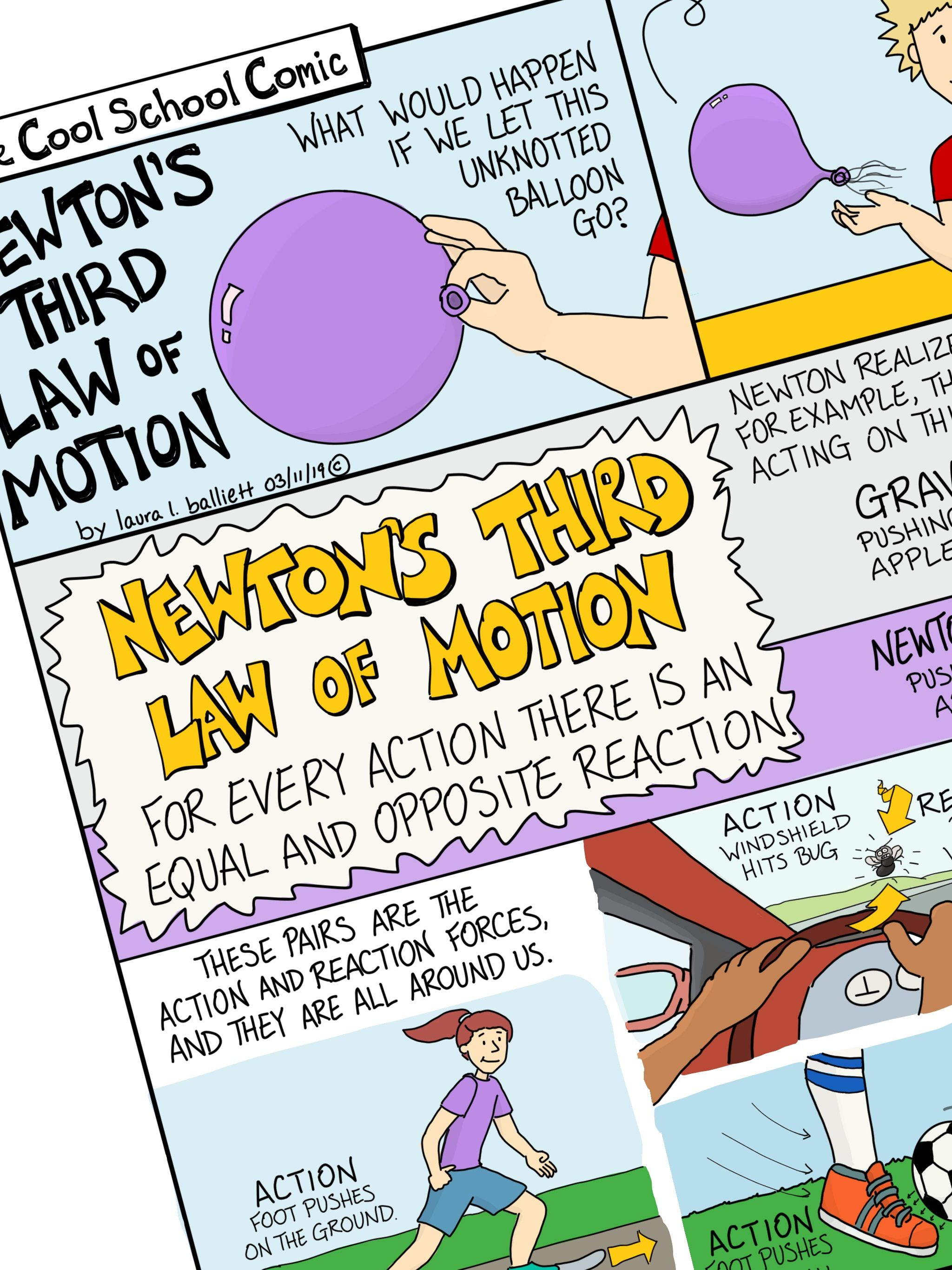 Newton S Third Law Of Motion Comic With Doodle By Cool School Comics Teachers Pay Tea Newtons Third Law Of Motion Newtons Third Law Newtons Laws Of Motion