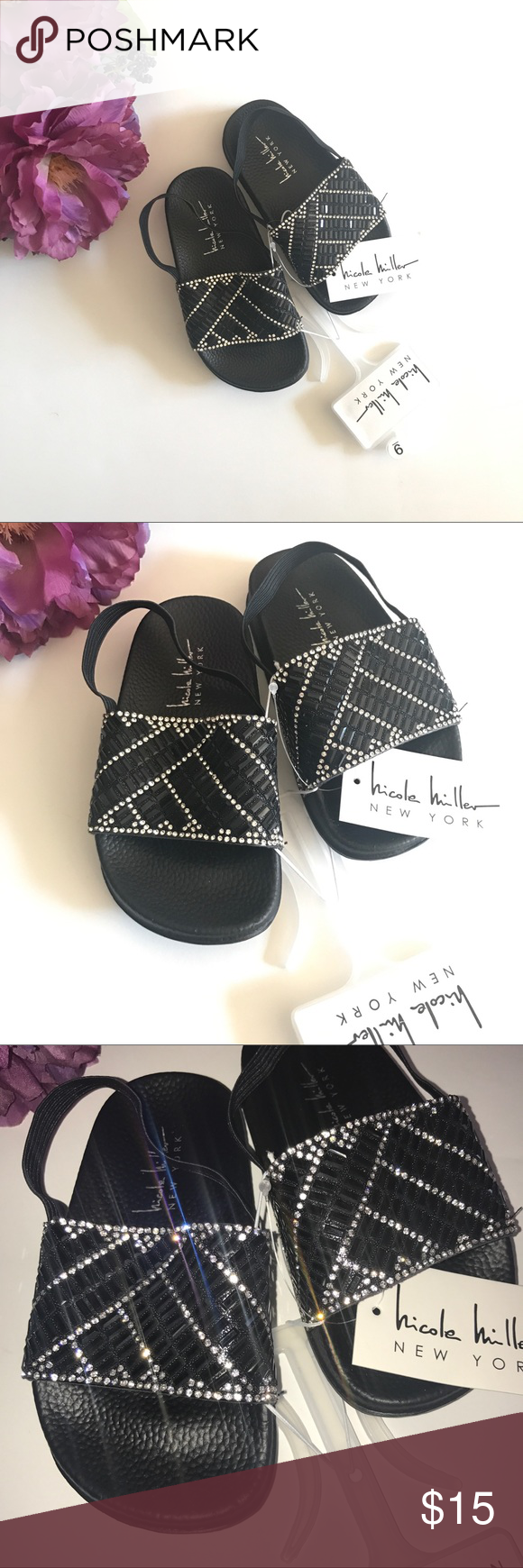 685d14f5d017d New Nicole Miller Toddler Rhinestone Slide Sandal New with tag ...