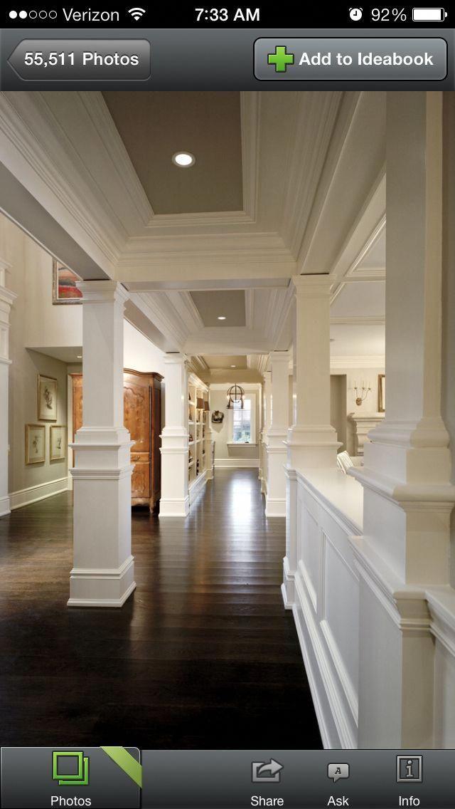 Stout And Narrow Style Columns Greyflooringfarmhousesinks Earth Tones Paint Dark Wood Floors Classic Hallways