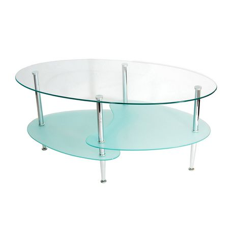 Manor Park Modern Oval Glass Coffee Table Silver Oval Coffee