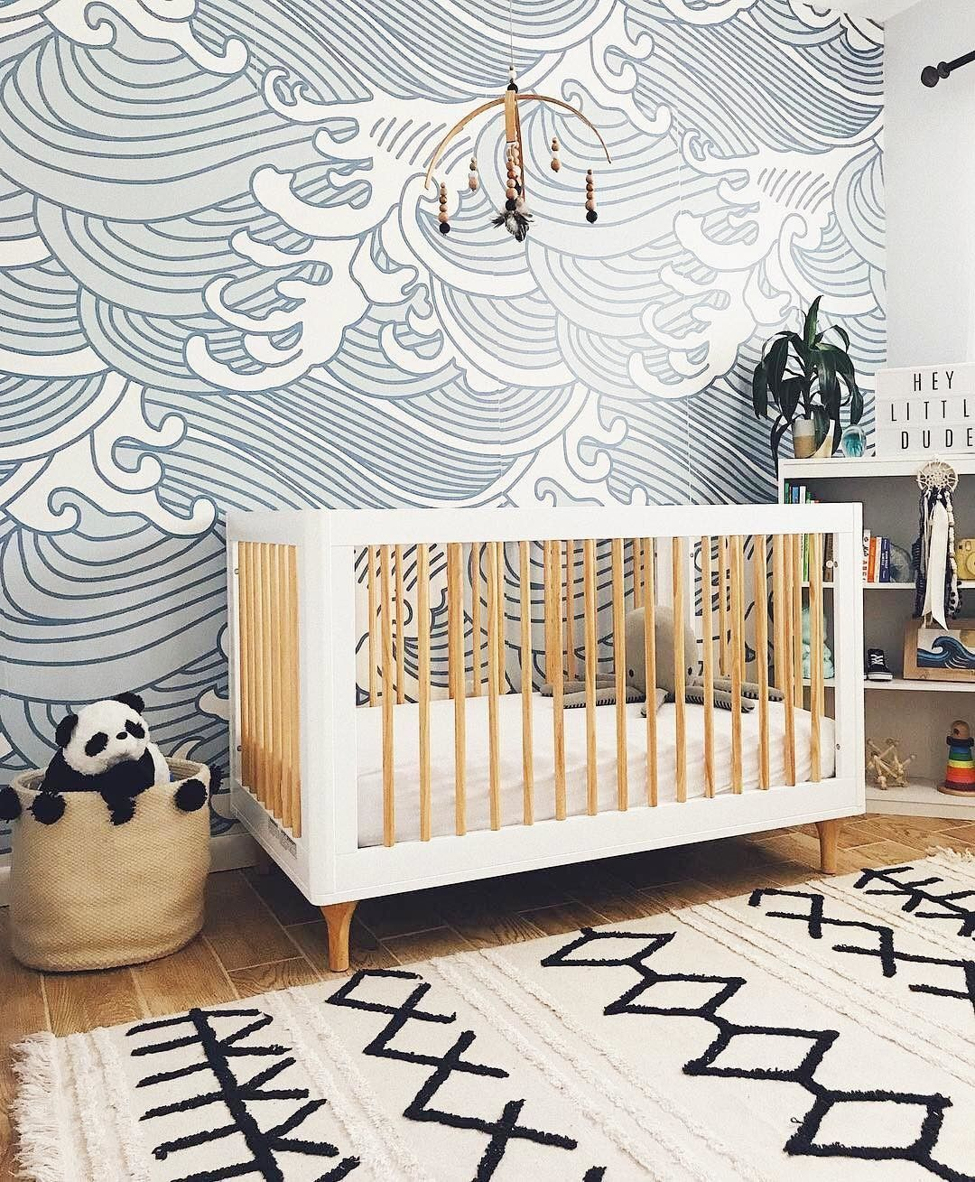 Surfer Ocean Themed Nursery With Wave Pattern Wallpaper And