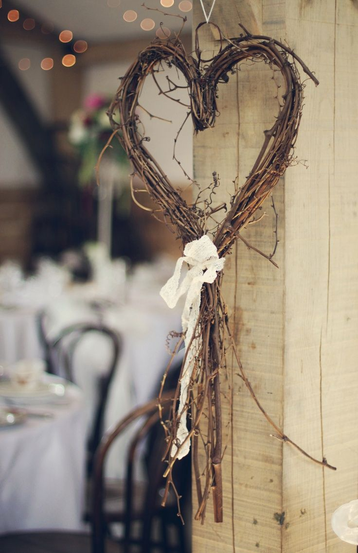 Photo of Pretty heart in wood twigs + lace ribbon