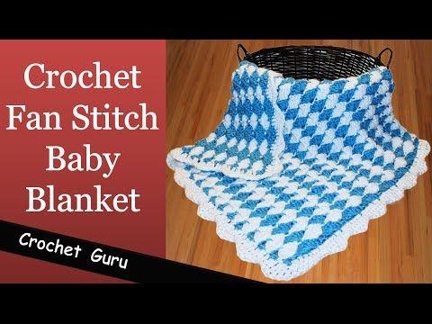3565f3032 How to Crochet Baby Blanket - Fan Stitch Pattern - YouTube ...