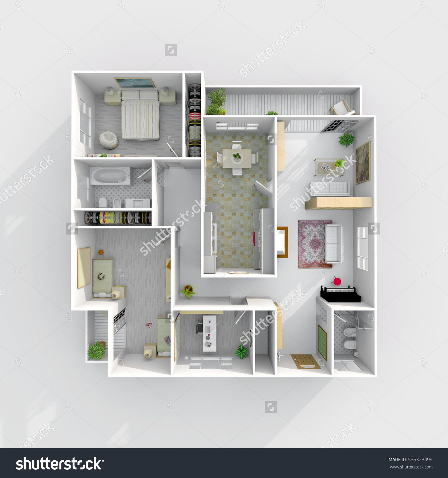 Progettazione Casa In 3D 3d interior rendering of furnished home apartment