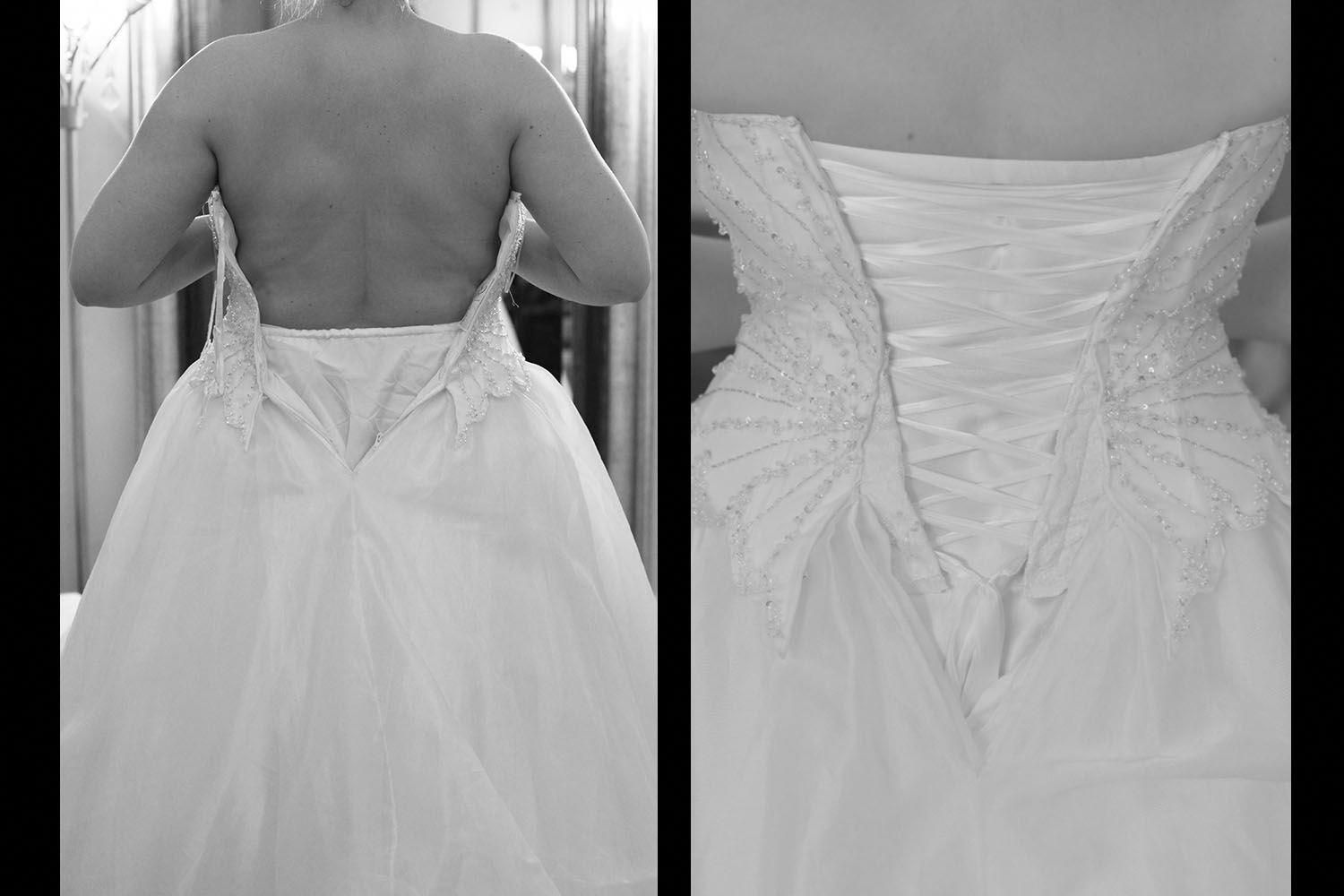 This Corset Is A Good Example Of How A Corset Can Get You In A Gown That S Quite A Bit Diy Bridesmaid Dress Corset Back Wedding Dress Wedding Dress Alterations