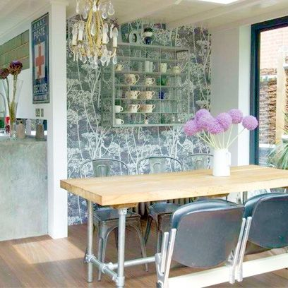 Dining Room Decorating Ideas Grey Print Wallpaper Patterned Adorable The Room Place Dining Room Sets Inspiration