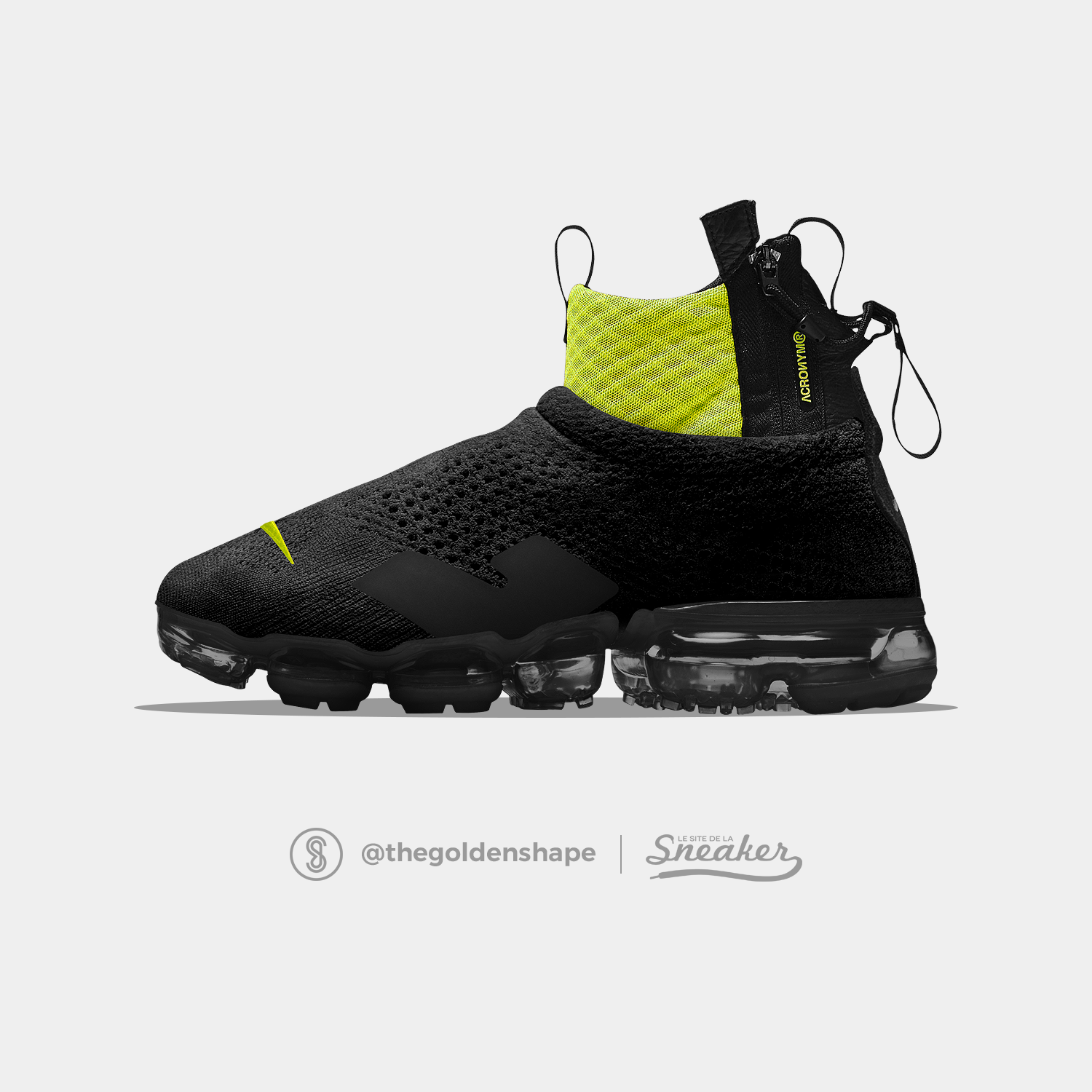 the best attitude 7846e f9419 Acronym x Nike Air VaporMax Flyknit Moc Black-Volt