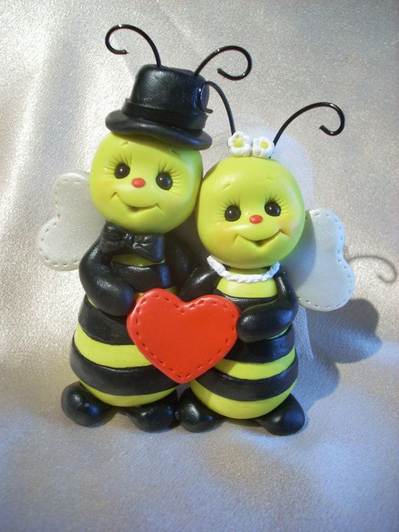 Polymer Clay Honey Bee Wedding Cake Topper By Clayqts On Etsy 47 00 Keywords Honeybeeweddings Jevelweddingplanning Follow Us