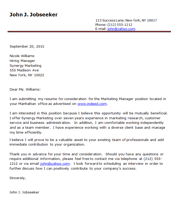 letter to accompany resumes