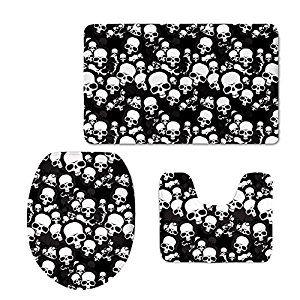 Bigcardesigns Fashion Skull Design Rugs Non-slip Mats Set