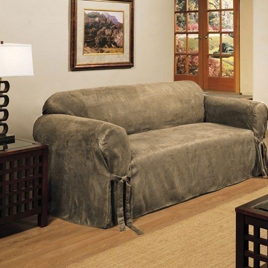 Micro Suede Slipcover Sofa Loveseat Chair Furniture Cover Taupe