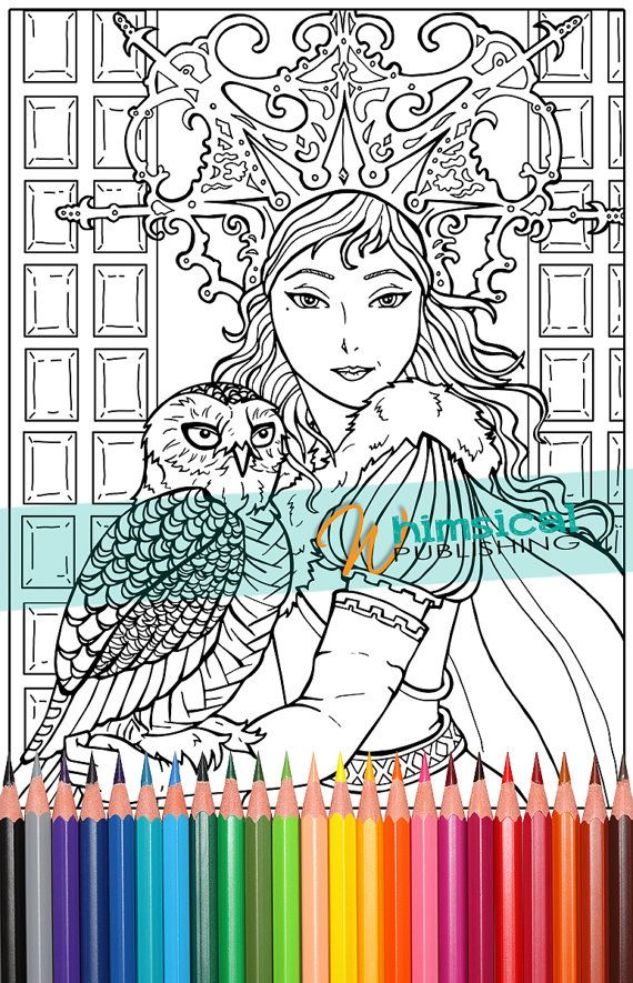 Snow Queen Fairy Tale Coloring Pages Book Owl Princess
