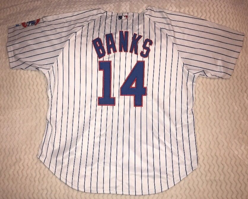 new style c5983 d0554 Majestic 56 3XL CHICAGO CUBS PINSTRIPE ERNIE BANKS JERSEY ...