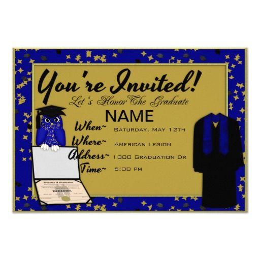 Graduation gown and stole blue invites zazzle graduation graduation gown and stole blue invites zazzle graduation invitations cards invites filmwisefo Images