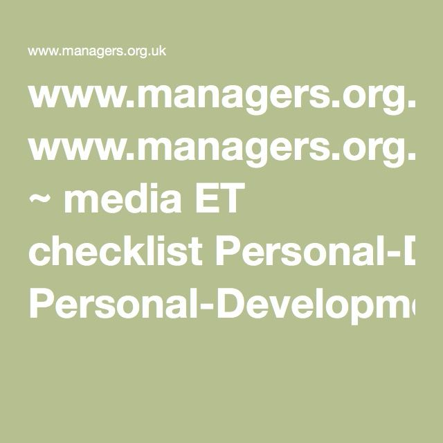 wwwmanagersorguk ~ media ET checklist Personal-Development-Plan - example of a personal development plan