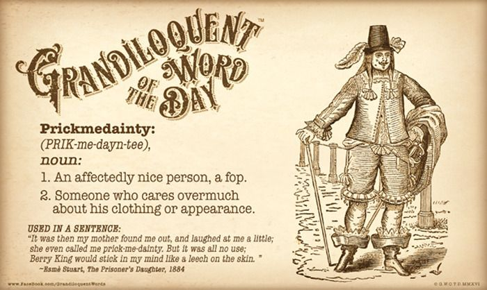 Prickmedainty Prik Me Dayn Tee Noun An Affectedly Nice Person A Fop Someone Who Cares Overmuch About His Clothing Cool Words Weird Words Word Of The Day