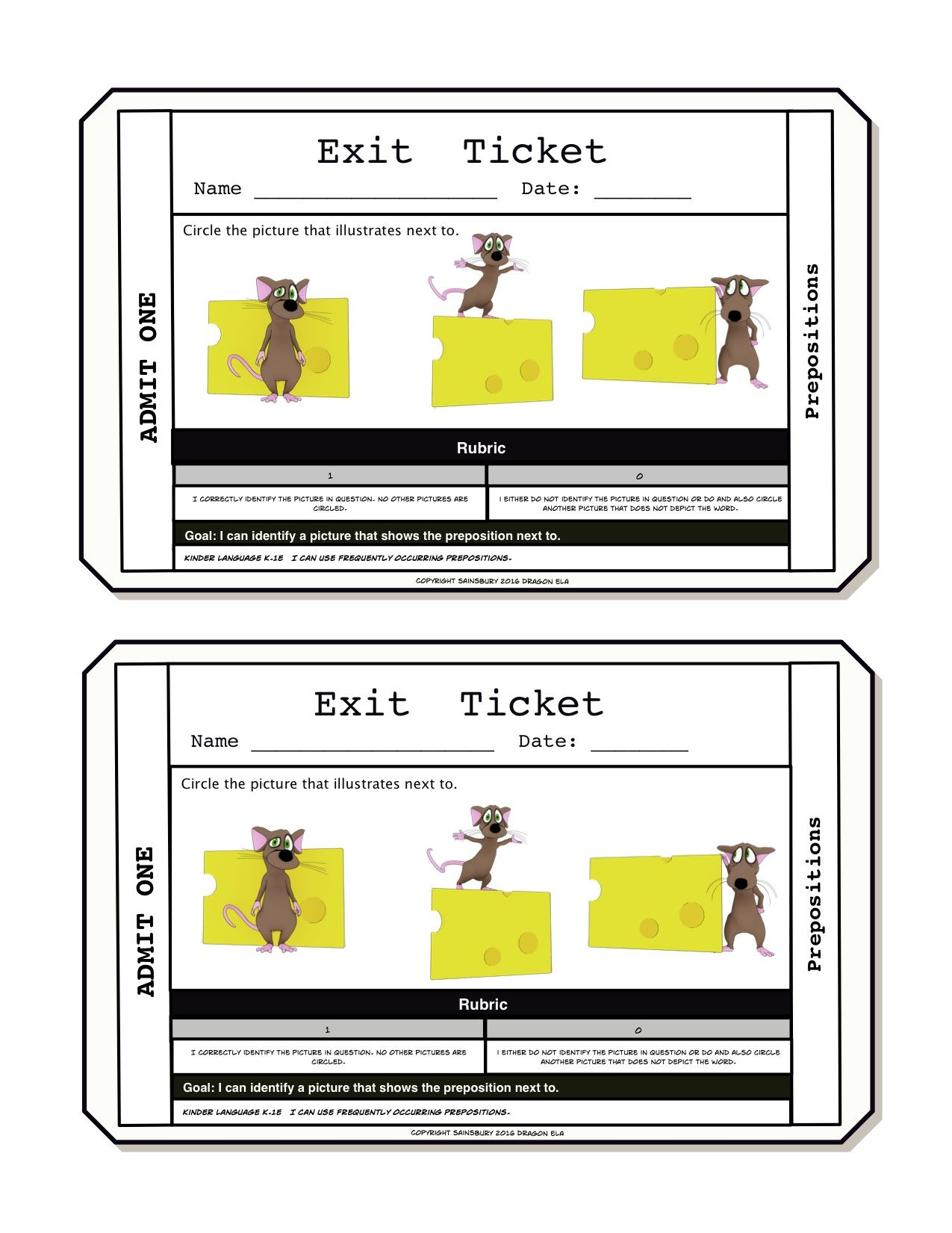 Prepositions Exit Tickets  Formal Assessment Kindergarten And