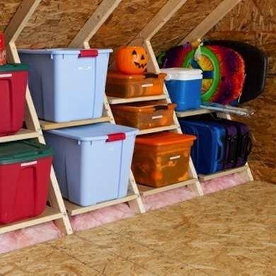 Easy Storage Ideas For Every Room In The House Attic Organization Attic Truss Attic Storage