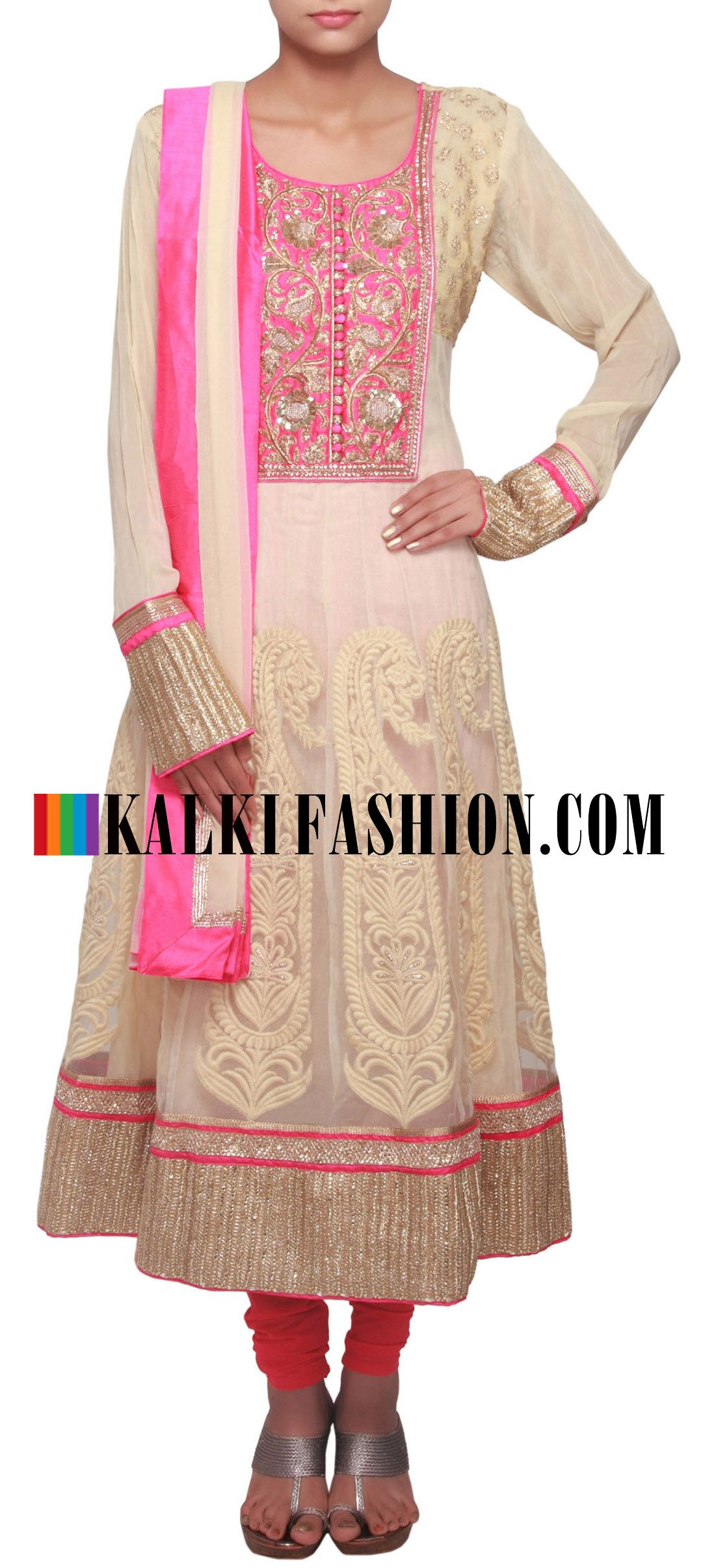 Buy Online from the link below. We ship worldwide (Free Shipping over US$100) http://www.kalkifashion.com/beige-anarkali-suit-embellished-in-zardosi-and-embossed-thread-work-only-on-kalki.html