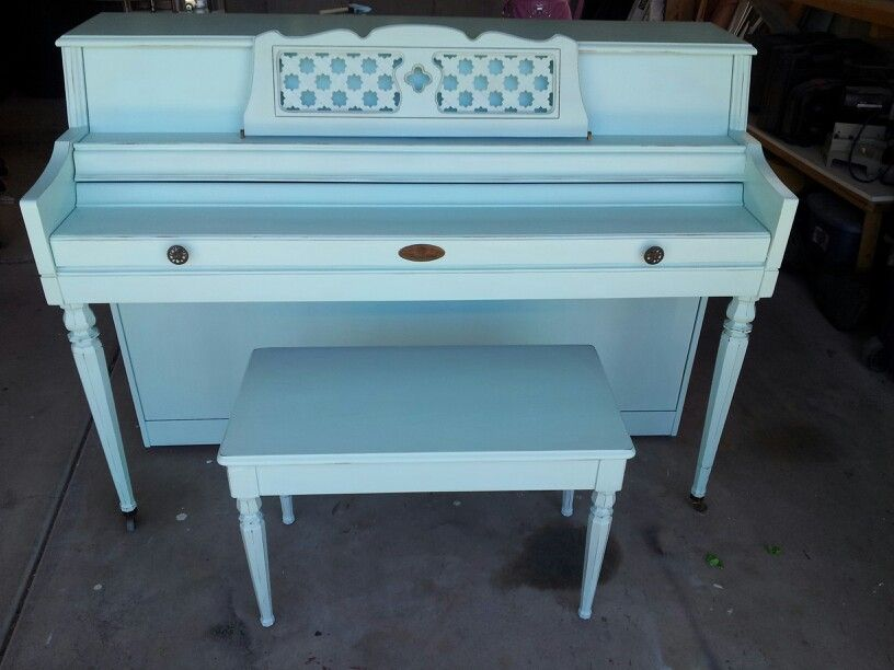 Painted blue piano