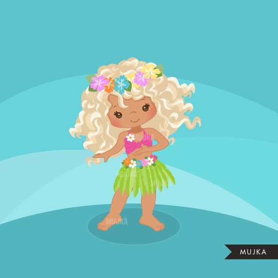 Hawaiian Hula Girls Clipart Summer Beach Graphics Cute Etsy In 2021 Hula Girl Beach Graphics Girl Clipart