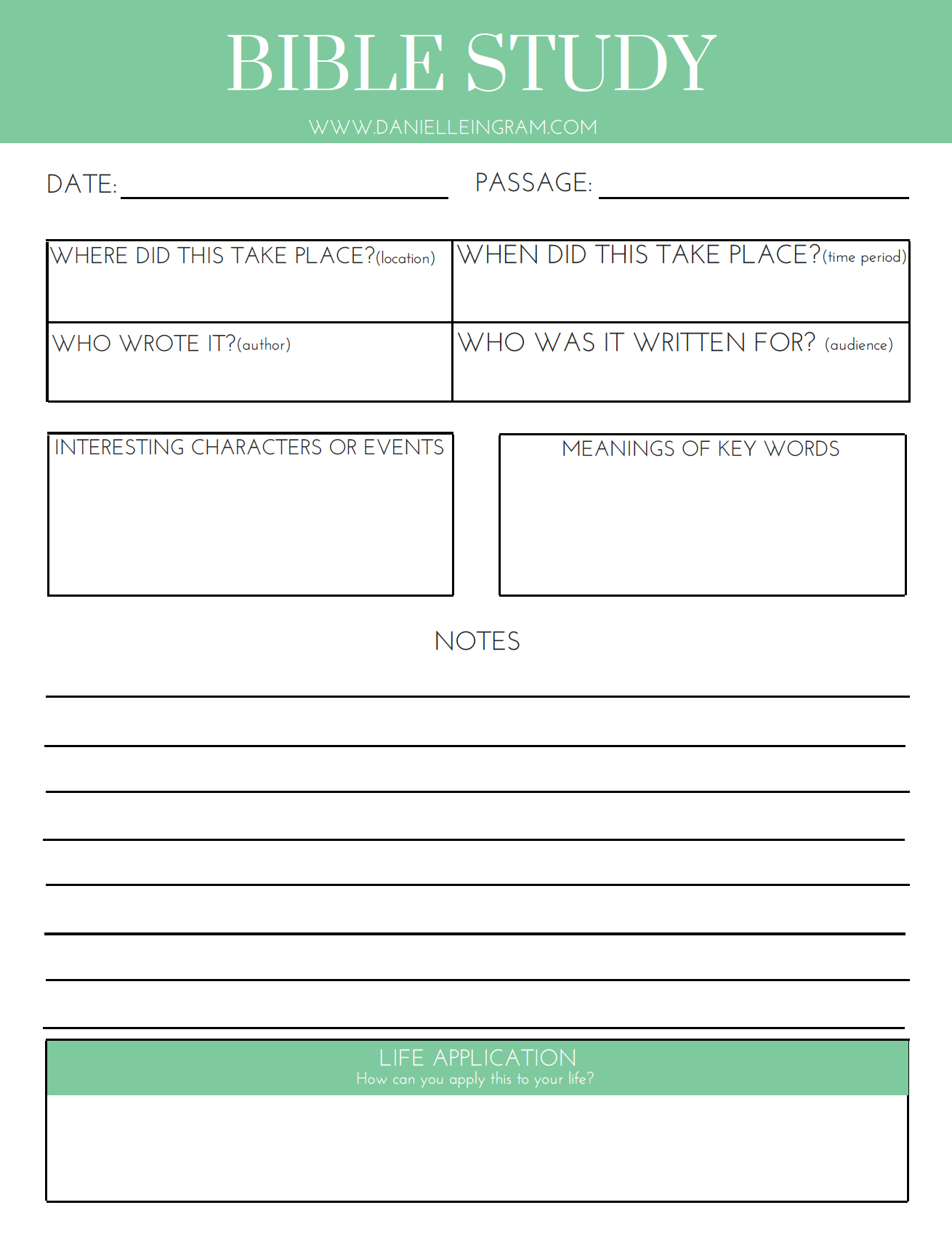 Free Bible Study Template Download From Danielle Ingram